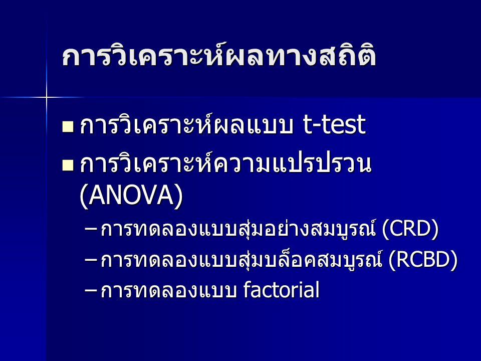 การวิเคราะห์ผลทางสถิติ การวิเคราะห์ผลแบบ t-test การวิเคราะห์ผลแบบ t-test การวิเคราะห์ความแปรปรวน (ANOVA) การวิเคราะห์ความแปรปรวน (ANOVA) –การทดลองแบบสุ่มอย่างสมบูรณ์ (CRD) –การทดลองแบบสุ่มบล็อคสมบูรณ์ (RCBD) –การทดลองแบบ factorial