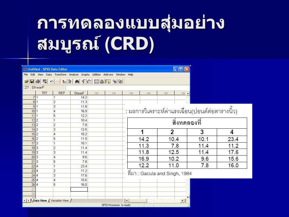 การทดลองแบบสุ่มอย่าง สมบูรณ์ (CRD)