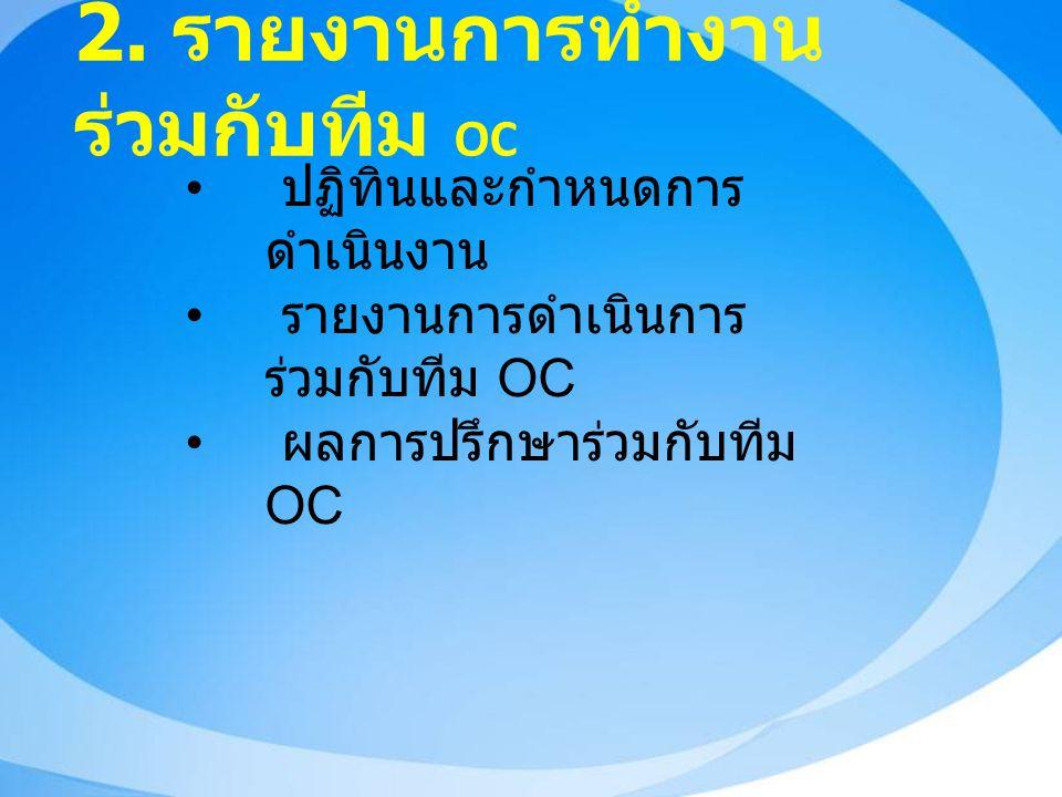 2. รายงานการทำงาน ร่วมกับทีม OC ปฏิทินและกำหนดการ ดำเนินงาน รายงานการดำเนินการ ร่วมกับทีม OC ผลการปรึกษาร่วมกับทีม OC