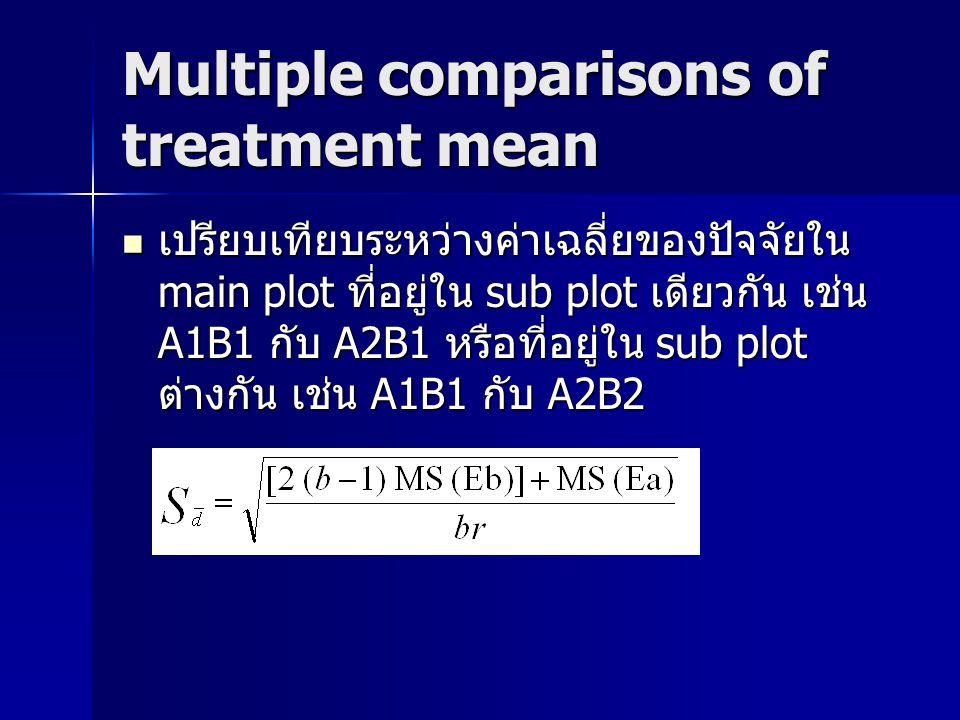 Multiple comparisons of treatment mean เปรียบเทียบระหว่างค่าเฉลี่ยของปัจจัยใน main plot ที่อยู่ใน sub plot เดียวกัน เช่น A1B1 กับ A2B1 หรือที่อยู่ใน s