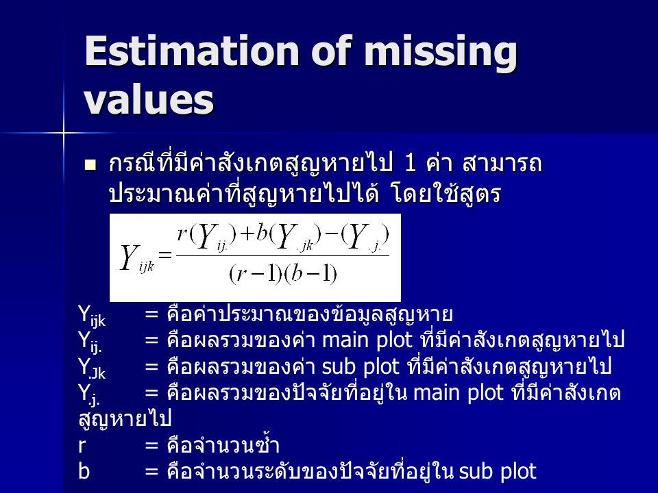 Estimation of missing values กรณีที่มีค่าสังเกตสูญหายไป 1 ค่า สามารถ ประมาณค่าที่สูญหายไปได้ โดยใช้สูตร กรณีที่มีค่าสังเกตสูญหายไป 1 ค่า สามารถ ประมาณ