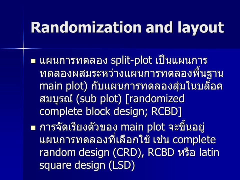 Split-plot design (main plot = LSD) ถ้าสิ่งทดลองมีความแปรรวน 2 ทิศทาง เพื่อ ลดค่าความคลาดเคลื่อนของการทดลองที่ เกิดขึ้น ควรจัดการทดลองที่มี main plot เป็นแบบ LSD ถ้าสิ่งทดลองมีความแปรรวน 2 ทิศทาง เพื่อ ลดค่าความคลาดเคลื่อนของการทดลองที่ เกิดขึ้น ควรจัดการทดลองที่มี main plot เป็นแบบ LSD Total main plot = a 2 (ระดับของปัจจัย A ยกกำลังสอง) คือ 3 2 = 9 หน่วยทดลอง Total main plot = a 2 (ระดับของปัจจัย A ยกกำลังสอง) คือ 3 2 = 9 หน่วยทดลอง จำนวนซ้ำ (r) จะเท่ากับจำนวนระดับของ ปัจจัย A (a = r) จำนวนซ้ำ (r) จะเท่ากับจำนวนระดับของ ปัจจัย A (a = r)