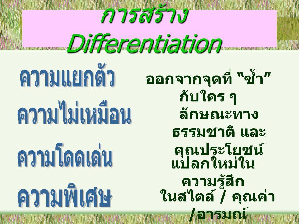 """การสร้าง Differentiation ออกจากจุดที่ """" ซ้ำ """" กับใคร ๆ ลักษณะทาง ธรรมชาติ และ คุณประโยชน์ แปลกใหม่ใน ความรู้สึก ในสไตล์ / คุณค่า / อารมณ์"""