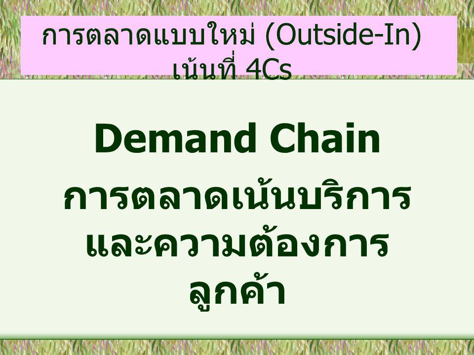 การตลาดแบบใหม่ (Outside-In) เน้นที่ 4Cs Demand Chain การตลาดเน้นบริการ และความต้องการ ลูกค้า