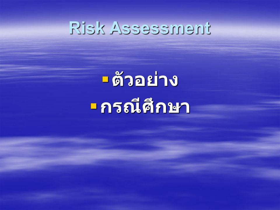 Risk Assessment  การประเมินความเสี่ยง เป็นกระบวนการที่ต้อง ใช้วิจารณญาณอย่างเป็นระบบในการ ตัดสินใจ โดยให้คะแนนตามระดับความเสี่ยง ที่เกิดขึ้นเพื่อให้ส