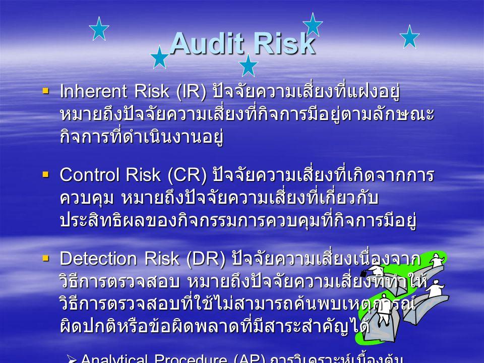 Audit Risk  Inherent Risk (IR) ปัจจัยความเสี่ยงที่แฝงอยู่ หมายถึงปัจจัยความเสี่ยงที่กิจการมีอยู่ตามลักษณะ กิจการที่ดำเนินงานอยู่  Control Risk (CR) ปัจจัยความเสี่ยงที่เกิดจากการ ควบคุม หมายถึงปัจจัยความเสี่ยงที่เกี่ยวกับ ประสิทธิผลของกิจกรรมการควบคุมที่กิจการมีอยู่  Detection Risk (DR) ปัจจัยความเสี่ยงเนื่องจาก วิธีการตรวจสอบ หมายถึงปัจจัยความเสี่ยงที่ทำให้ วิธีการตรวจสอบที่ใช้ไม่สามารถค้นพบเหตุการณ์ ผิดปกติหรือข้อผิดพลาดที่มีสาระสำคัญได้  Analytical Procedure (AP) การวิเคราะห์เบื้องต้น  Sample Risk (SR) ความเสี่ยงจากการสุ่มตัวอย่าง