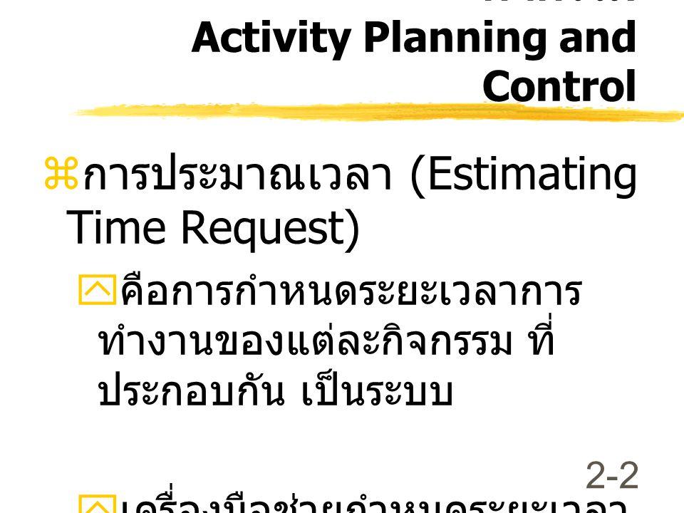 2-2  การประมาณเวลา (Estimating Time Request)  คือการกำหนดระยะเวลาการ ทำงานของแต่ละกิจกรรม ที่ ประกอบกัน เป็นระบบ  เครื่องมือช่วยกำหนดระยะเวลา * Gantt Chart การวางแผนและควบคุม กิจกรรม Activity Planning and Control