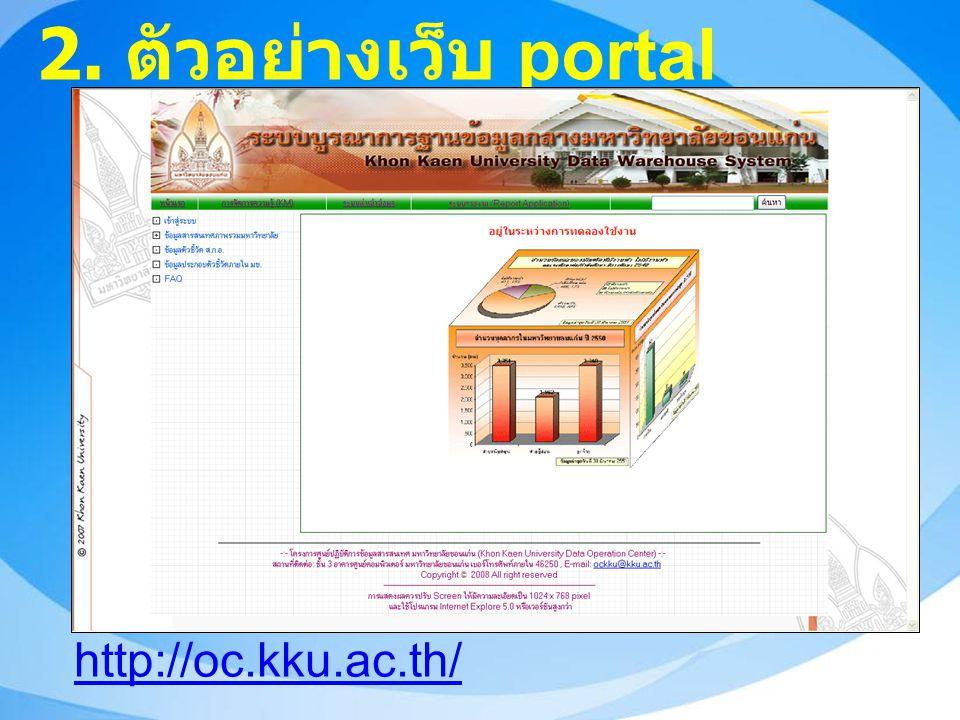 2. ตัวอย่างเว็บ portal http://oc.kku.ac.th/
