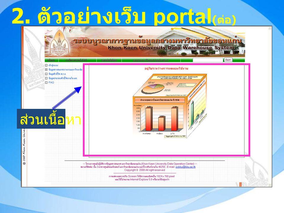 2. ตัวอย่างเว็บ portal ( ต่อ ) ส่วนเนื้อหา