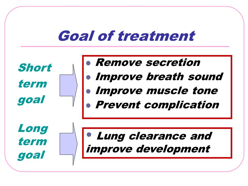 Goal of treatment Remove secretion Improve breath sound Improve muscle tone Prevent complication Lung clearance and improve development Short term goa