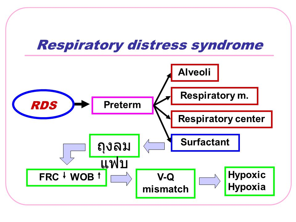 Respiratory distress syndrome RDS Surfactant Respiratory m. Alveoli Respiratory center Preterm FRC WOBV-Q mismatch Hypoxic Hypoxia ถุงลม แฟบ