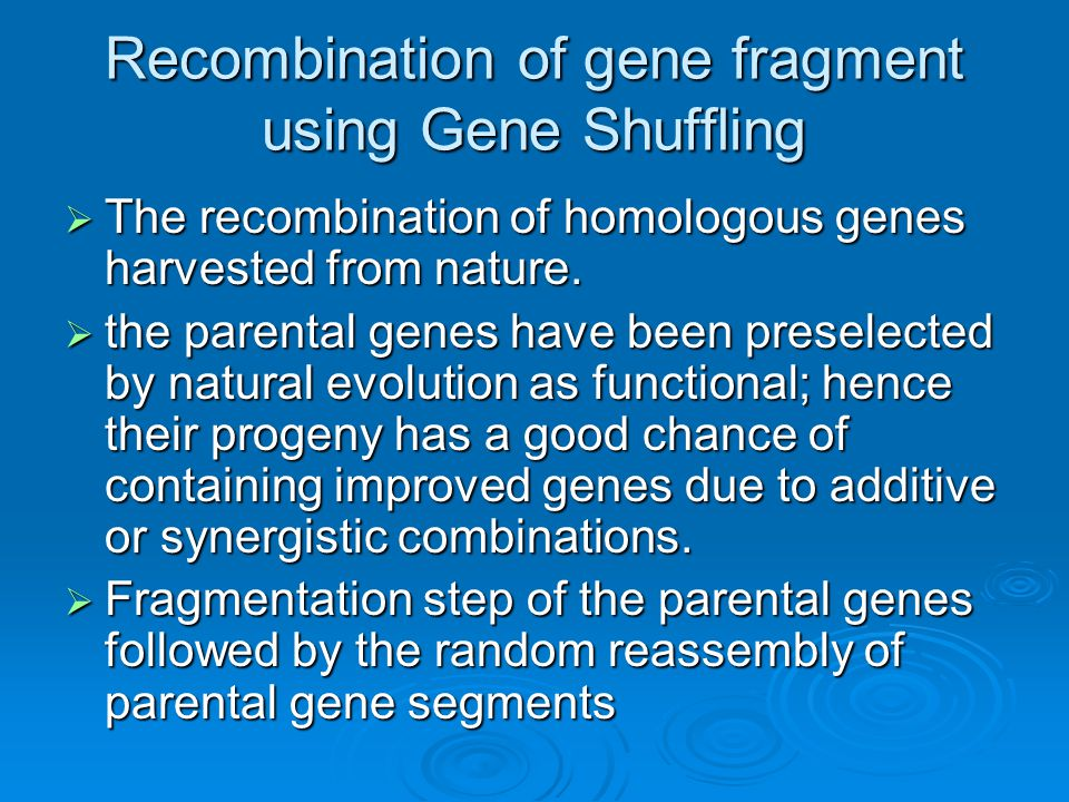Recombination of gene fragment using Gene Shuffling  The recombination of homologous genes harvested from nature.