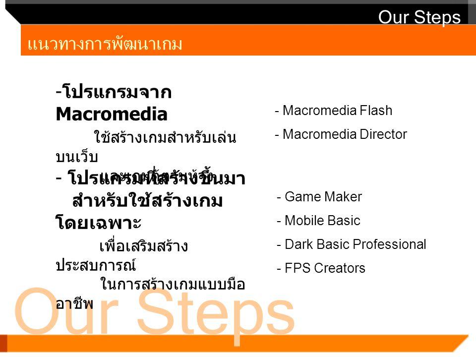 Our Steps แนวทางการพัฒนาเกม Our Steps - โปรแกรมจาก Macromedia ใช้สร้างเกมสำหรับเล่น บนเว็บ และเกมตู้ตามห้าง - Macromedia Flash - Macromedia Director -