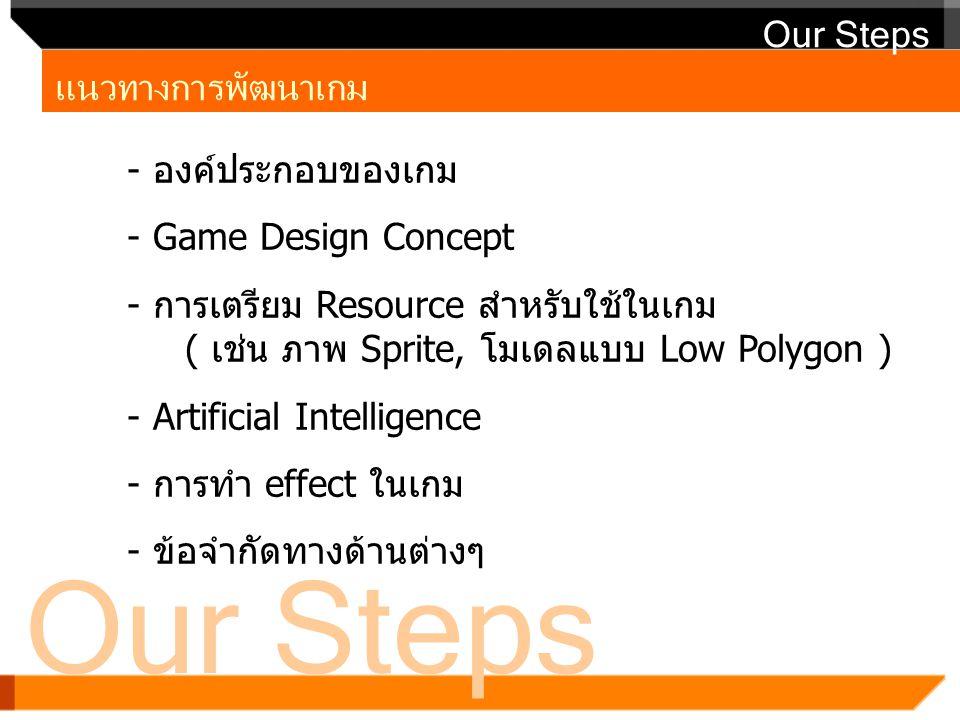 Our Steps แนวทางการพัฒนาเกม Our Steps - องค์ประกอบของเกม - Game Design Concept - การเตรียม Resource สำหรับใช้ในเกม ( เช่น ภาพ Sprite, โมเดลแบบ Low Pol