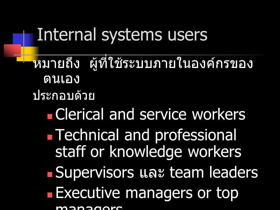 External systems users หมายถึง ผู้ที่ใช้ระบบภายนอกองค์กรของ ตนเอง ประกอบด้วย Customers Suppliers Partners Employees