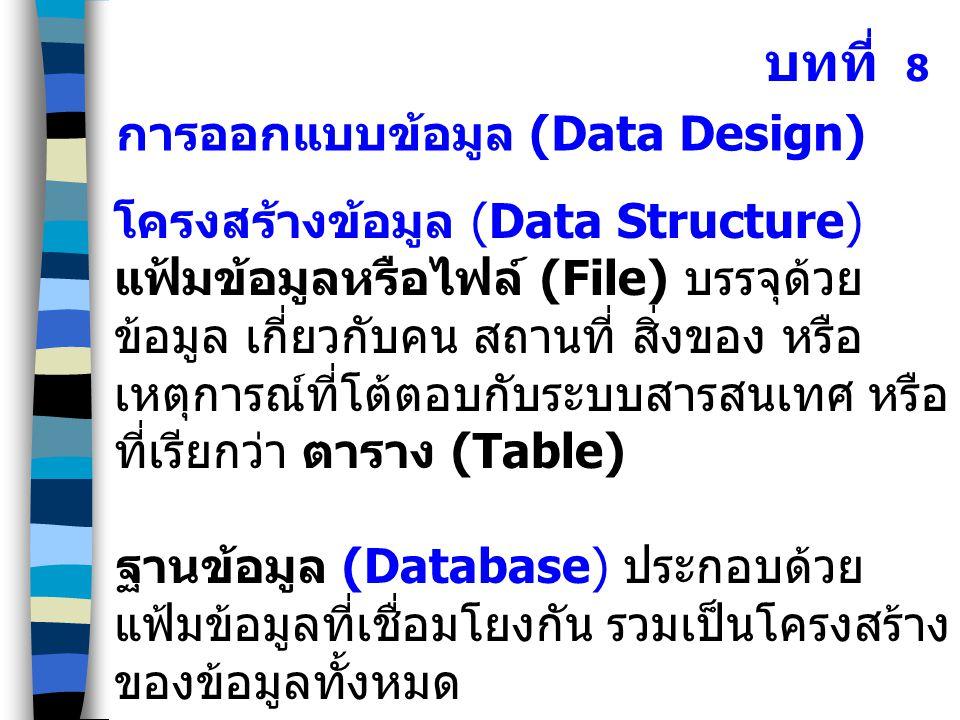 โครงสร้างข้อมูล (Data Structure) แฟ้มข้อมูลหรือไฟล์ (File) บรรจุด้วย ข้อมูล เกี่ยวกับคน สถานที่ สิ่งของ หรือ เหตุการณ์ที่โต้ตอบกับระบบสารสนเทศ หรือ ที