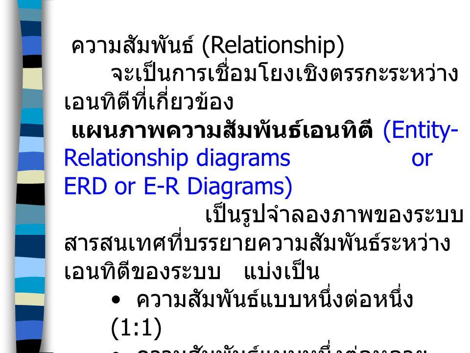 ความสัมพันธ์ (Relationship) จะเป็นการเชื่อมโยงเชิงตรรกะระหว่าง เอนทิตีที่เกี่ยวข้อง แผนภาพความสัมพันธ์เอนทิตี (Entity- Relationship diagrams or ERD or