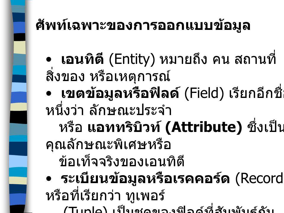 ศัพท์เฉพาะของการออกแบบข้อมูล เอนทิตี (Entity) หมายถึง คน สถานที่ สิ่งของ หรือเหตุการณ์ เขตข้อมูลหรือฟิลด์ (Field) เรียกอีกชื่อ หนึ่งว่า ลักษณะประจำ หร