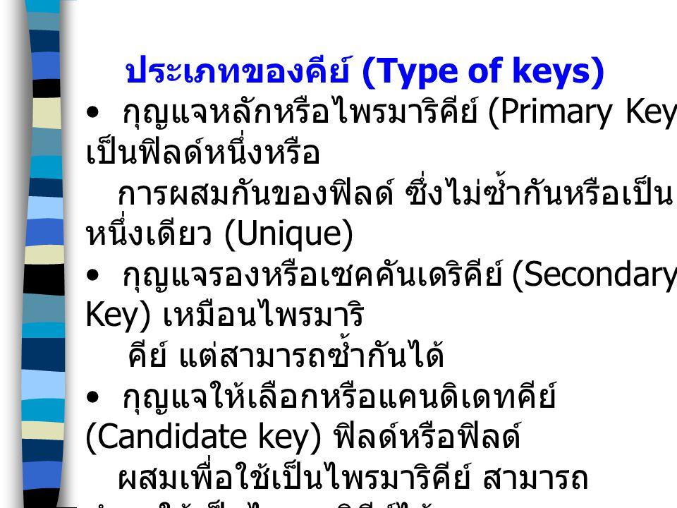 ประเภทของคีย์ (Type of keys) กุญแจหลักหรือไพรมาริคีย์ (Primary Key) เป็นฟิลด์หนึ่งหรือ การผสมกันของฟิลด์ ซึ่งไม่ซ้ำกันหรือเป็น หนึ่งเดียว (Unique) กุญ