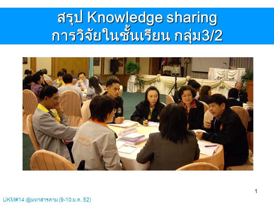 UKM#14 @มหาสารคาม (9-10 ม.ค. 52) 1 สรุป Knowledge sharing การวิจัยในชั้นเรียน กลุ่ม3/2
