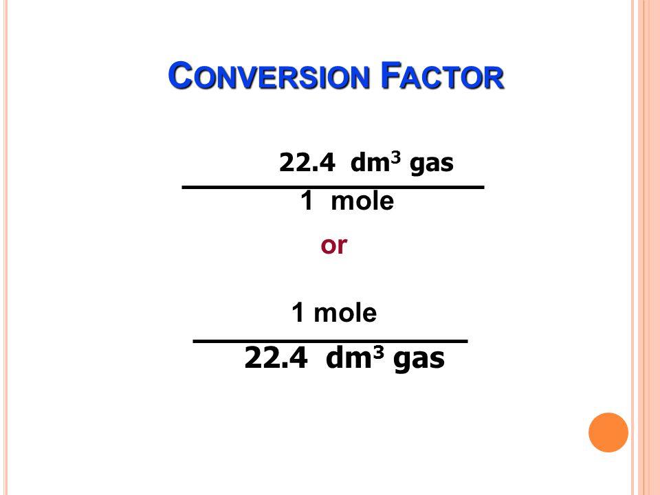 M OLE Ex.จงคำนวณหาจำนวนโมลของคาร์บอนไดออกไซด์ ปริมาตร 5.6 dm 3 ที่ STP 3.