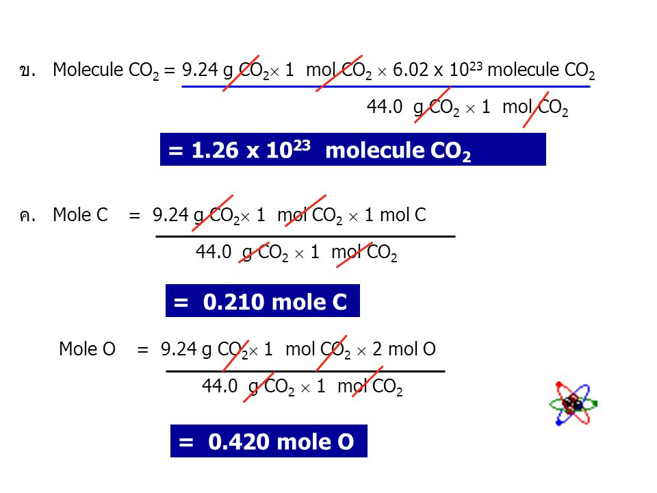 วิธีทำ ก.น้ำหนักโมเลกุลของ CO 2 = 12.0 + ( 2 x 16.0 ) = 44.0 จำนวนโมลของ CO 2 = 9.24 g CO 2  1 mol CO 2 44.0 g CO 2 = 0.210 mol CO 2