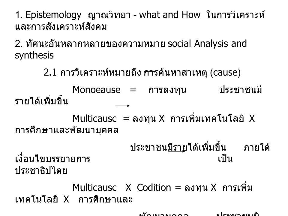 1.Epistemology ญาณวิทยา - what and How ในการวิเคราะห์ และการสังเคราะห์สังคม 2.