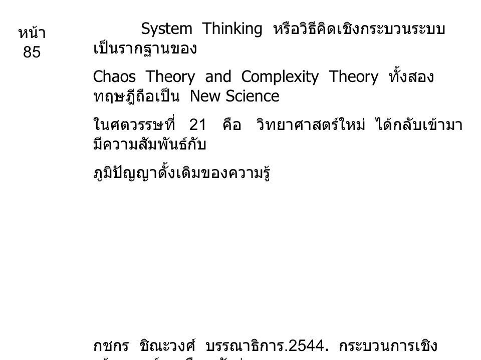 System Thinking หรือวิธีคิดเชิงกระบวนระบบ เป็นรากฐานของ Chaos Theory and Complexity Theory ทั้งสอง ทฤษฎีถือเป็น New Science ในศตวรรษที่ 21 คือ วิทยาศาสตร์ใหม่ ได้กลับเข้ามา มีความสัมพันธ์กับ ภูมิปัญญาดั้งเดิมของความรู้ กชกร ชิณะวงศ์ บรรณาธิการ.2544.