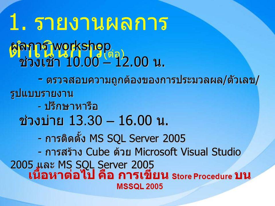 1. รายงานผลการ ดำเนินการ ( ต่อ ) ผลการ workshop ช่วงเช้า 10.00 – 12.00 น.