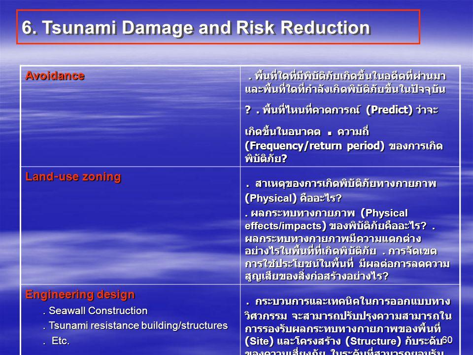 60 6. Tsunami Damage and Risk Reduction Avoidance. พื้นที่ใดที่มีพิบัติภัยเกิดขึ้นในอดีตที่ผ่านมา และพื้นที่ใดที่กำลังเกิดพิบัติภัยขึ้นในปัจจุบัน ?. พ