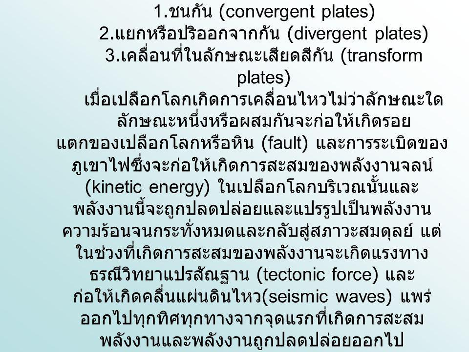 1. ชนกัน (convergent plates) 2. แยกหรือปริออกจากกัน (divergent plates) 3. เคลื่อนที่ในลักษณะเสียดสีกัน (transform plates) เมื่อเปลือกโลกเกิดการเคลื่อน