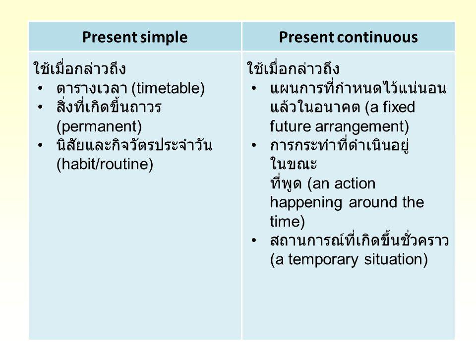 Present simplePresent continuous ใช้เมื่อกล่าวถึง ตารางเวลา (timetable) สิ่งที่เกิดขึ้นถาวร (permanent) นิสัยและกิจวัตรประจำวัน (habit/routine) ใช้เมื