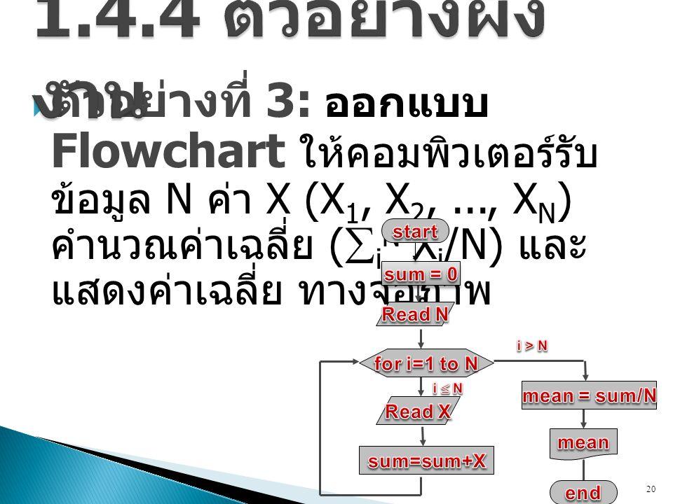  ตัวอย่างที่ 3: ออกแบบ Flowchart ให้คอมพิวเตอร์รับ ข้อมูล N ค่า X (X 1, X 2,..., X N ) คำนวณค่าเฉลี่ย (  i N X i /N) และ แสดงค่าเฉลี่ย ทางจอภาพ 20