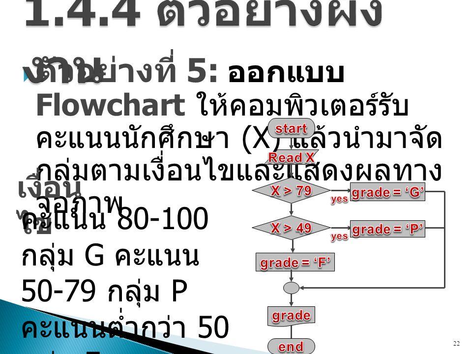  ตัวอย่างที่ 5: ออกแบบ Flowchart ให้คอมพิวเตอร์รับ คะแนนนักศึกษา (X) แล้วนำมาจัด กลุ่มตามเงื่อนไขและแสดงผลทาง จอภาพ 22 เงื่อน ไข คะแนน 80-100 กลุ่ม G