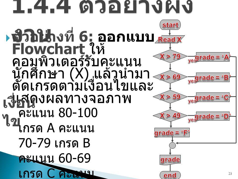  ตัวอย่างที่ 6: ออกแบบ Flowchart ให้ คอมพิวเตอร์รับคะแนน นักศึกษา (X) แล้วนำมา ตัดเกรดตามเงื่อนไขและ แสดงผลทางจอภาพ 23 เงื่อน ไข คะแนน 80-100 เกรด A