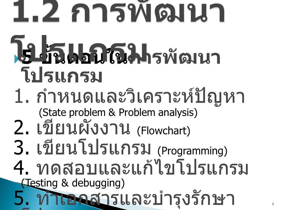  5 ขั้นตอนในการพัฒนา โปรแกรม 1. กำหนดและวิเคราะห์ปัญหา (State problem & Problem analysis) 2. เขียนผังงาน (Flowchart) 3. เขียนโปรแกรม (Programming) 4.