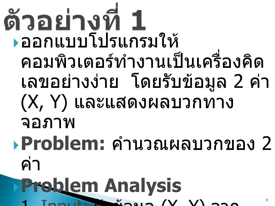  ออกแบบโปรแกรมให้ คอมพิวเตอร์ทำงานเป็นเครื่องคิด เลขอย่างง่าย โดยรับข้อมูล 2 ค่า (X, Y) และแสดงผลบวกทาง จอภาพ  Problem: คำนวณผลบวกของ 2 ค่า  Proble