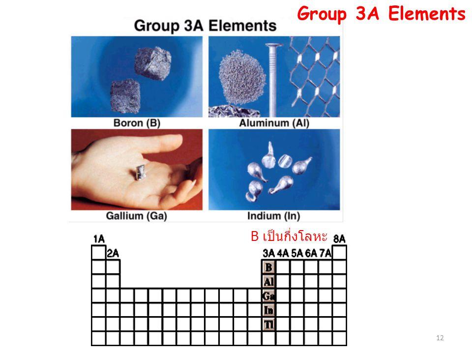 12 B เป็นกึ่งโลหะ Group 3A Elements