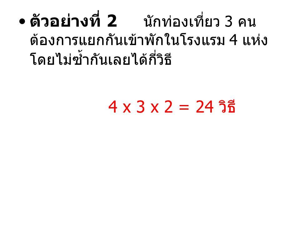 ตัวอย่างที่ 2 นักท่องเที่ยว 3 คน ต้องการแยกกันเข้าพักในโรงแรม 4 แห่ง โดยไม่ซ้ำกันเลยได้กี่วิธี 4 x 3 x 2 = 24 วิธี