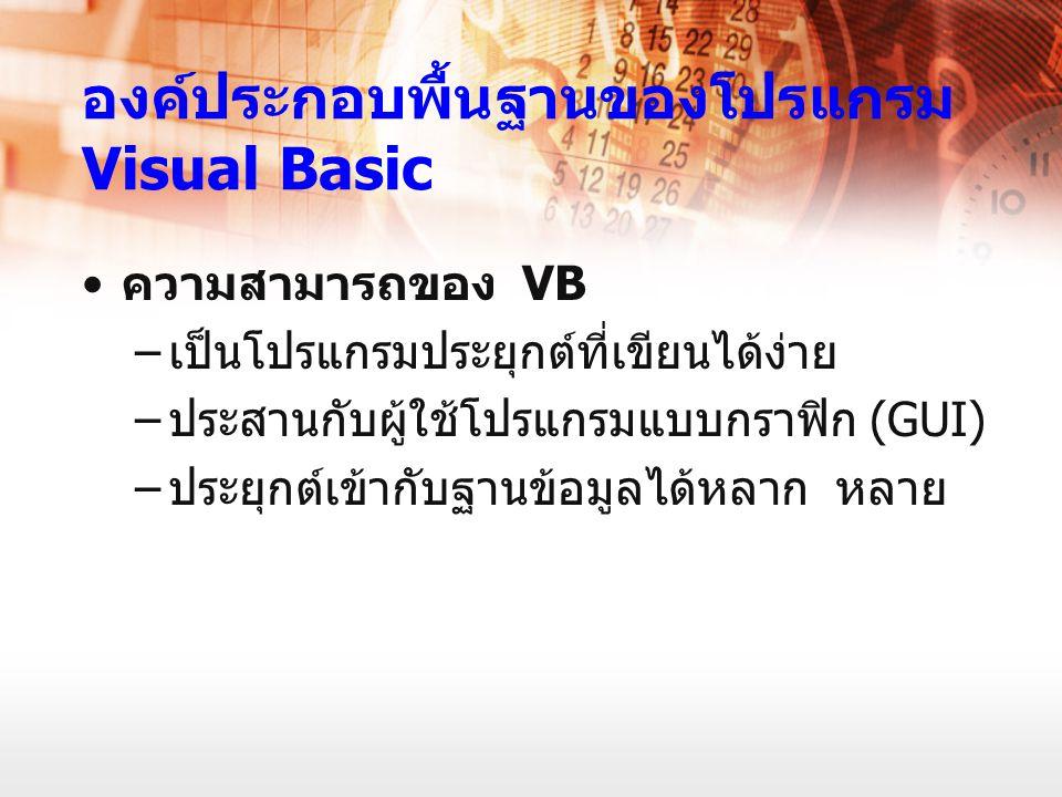 องค์ประกอบพื้นฐานของโปรแกรม Visual Basic ความสามารถของ VB – เป็นโปรแกรมประยุกต์ที่เขียนได้ง่าย – ประสานกับผู้ใช้โปรแกรมแบบกราฟิก (GUI) – ประยุกต์เข้าก