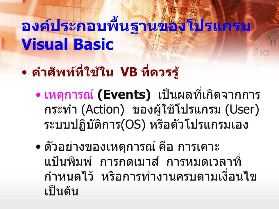 องค์ประกอบพื้นฐานของโปรแกรม Visual Basic คำศัพท์ที่ใช้ใน VB ที่ควรรู้ เหตุการณ์ (Events) เป็นผลที่เกิดจากการ กระทำ (Action) ของผู้ใช้โปรแกรม (User) ระ