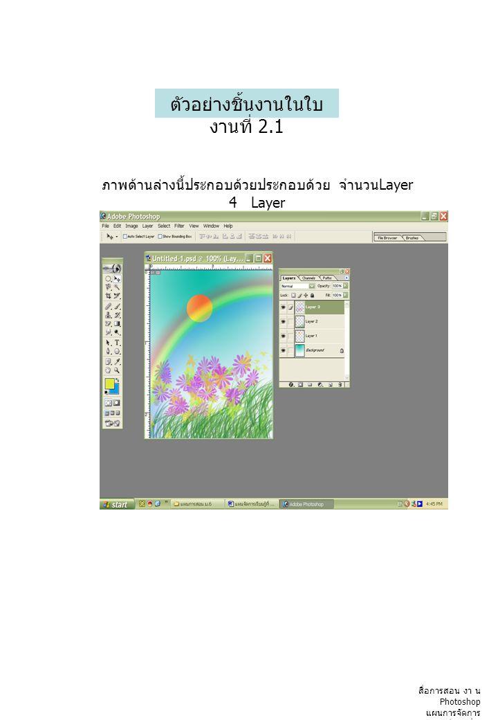 ตัวอย่างชิ้นงานในใบ งานที่ 2.1 ภาพด้านล่างนี้ประกอบด้วยประกอบด้วย จำนวน Layer 4 Layer สื่อการสอน งา น Photoshop แผนการจัดการ เรียนรู้ที่ 2