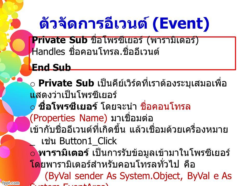 ตัวจัดการอีเวนต์ (Event) o Private Sub เป็นคีย์เวิร์ดที่เราต้องระบุเสมอเพื่อ แสดงว่าเป็นโพรซีเยอร์ o ชื่อโพรซีเยอร์ โดยจะนำ ชื่อคอนโทรล (Properties Na