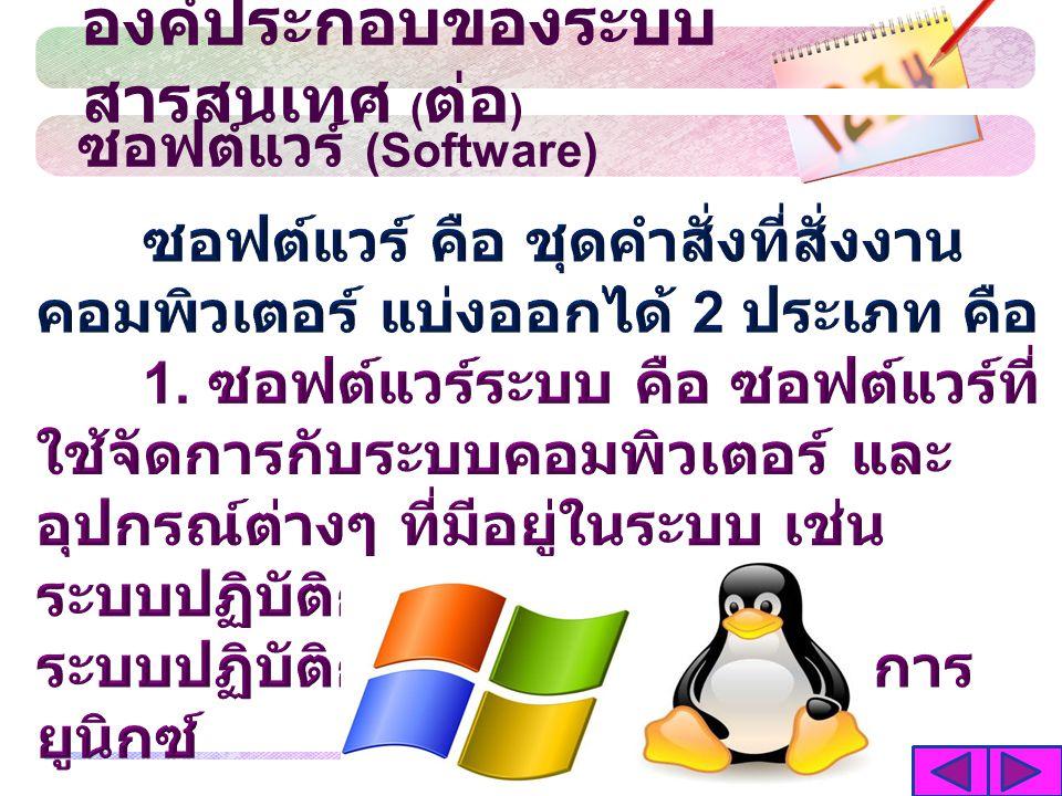 ซอฟต์แวร์ (Software) องค์ประกอบของระบบ สารสนเทศ ( ต่อ )