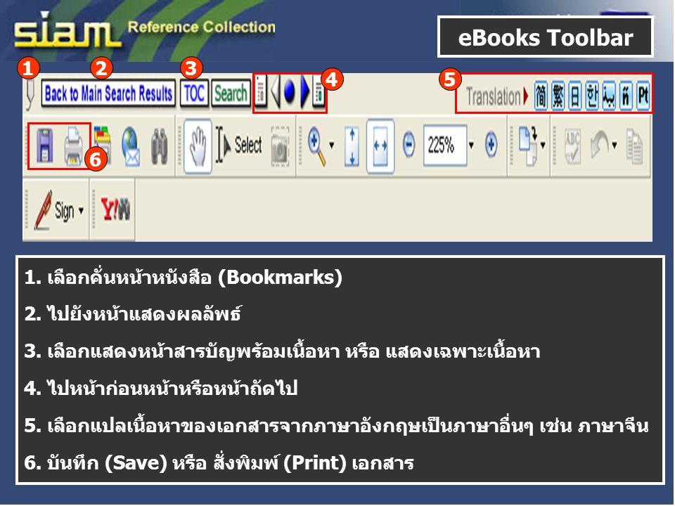 6 123 1. เลือกคั่นหน้าหนังสือ (Bookmarks) 2. ไปยังหน้าแสดงผลลัพธ์ 3. เลือกแสดงหน้าสารบัญพร้อมเนื้อหา หรือ แสดงเฉพาะเนื้อหา 4. ไปหน้าก่อนหน้าหรือหน้าถั