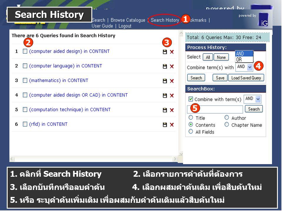 1. คลิกที่ Search History 2. เลือกรายการคำค้นที่ต้องการ 3.