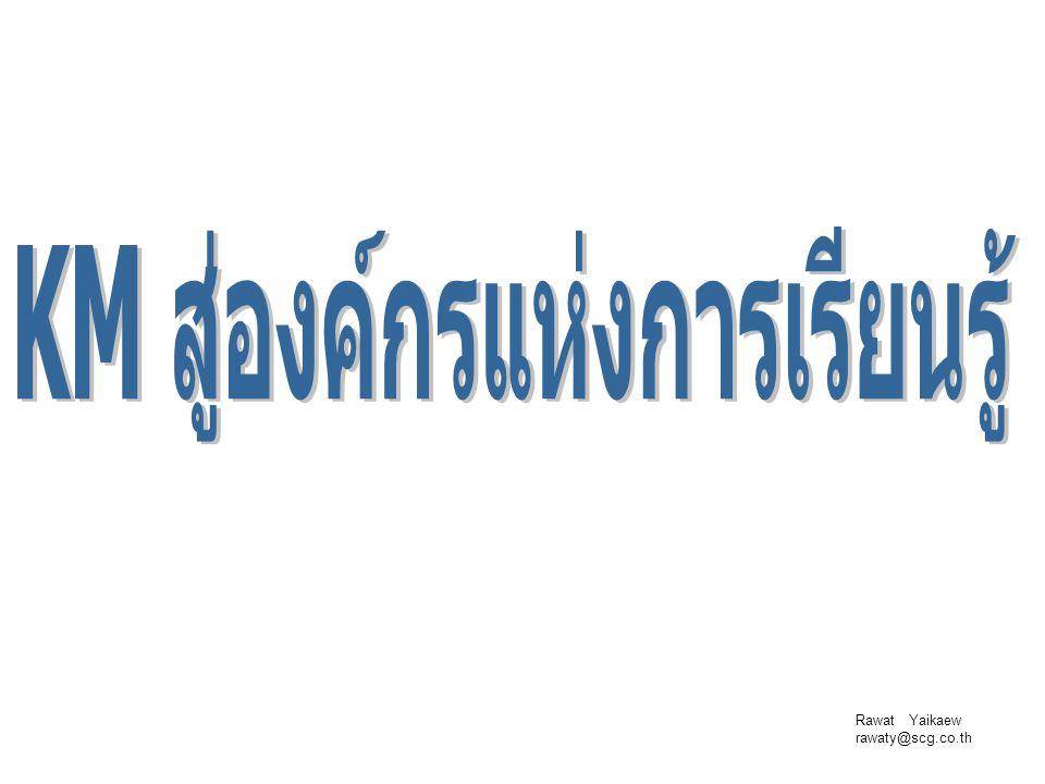 Rawat Yaikaew rawaty@scg.co.th เรวัตร ใหญ่แก้ว ภายในเครือซิเมนต์ไทย  2532: เจ้าหน้าที่บุคคล บ.ปูนซิเมนต์ไทย (แก่งคอย) จำกัด  ปัจจุบัน: HRD และ Facilitator บ.เอส ซี จี ซิเมนต์ จำกัด  Facilitator กระบวนการเรียนรู้ บ.ในเครือซิเมนต์ไทย  วิทยากรบรรยายการจัดการความรู้ สถาบันส่งเสริมการจัดการความรู้เพื่อสังคม บริษัทในเครือมิตรผล ปตท.