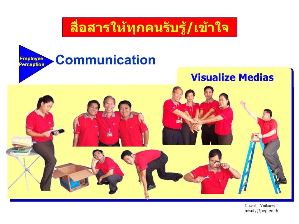 Rawat Yaikaew rawaty@scg.co.th Employee Perception Communication Visualize Medias สื่อสารให้ทุกคนรับรู้/เข้าใจ