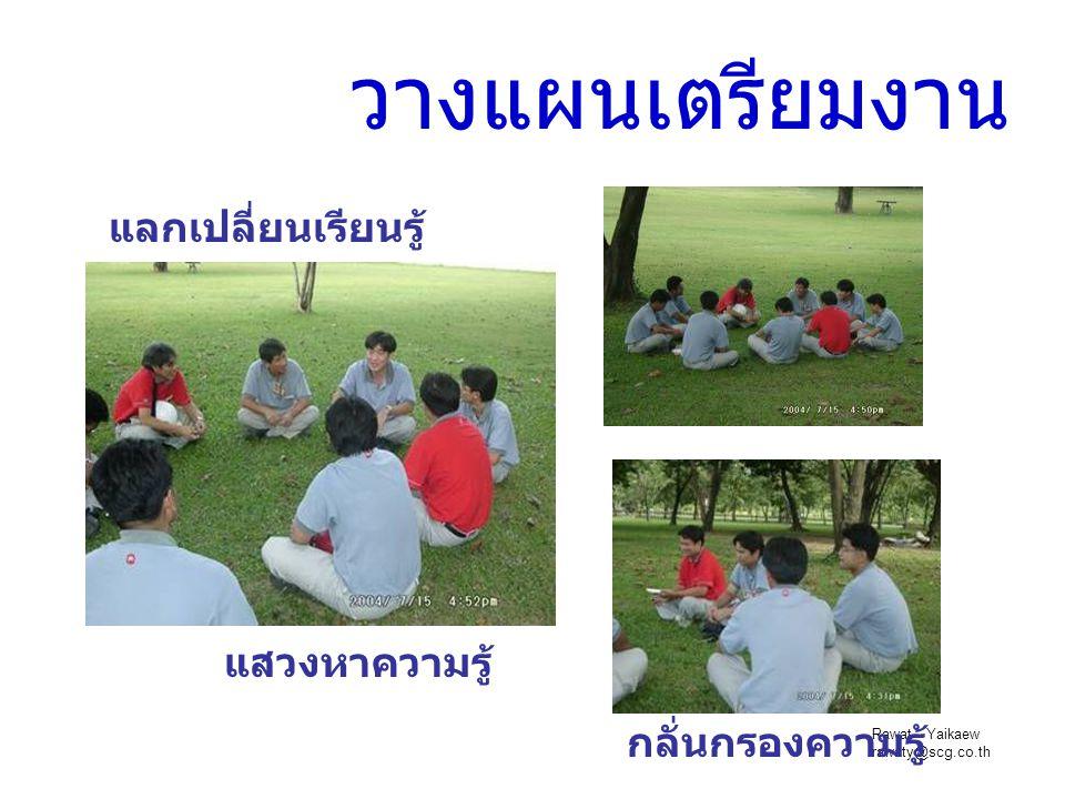 Rawat Yaikaew rawaty@scg.co.th วางแผนเตรียมงาน แลกเปลี่ยนเรียนรู้ แสวงหาความรู้ กลั่นกรองความรู้