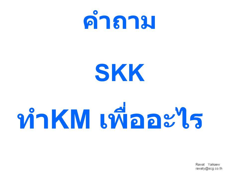 Rawat Yaikaew rawaty@scg.co.th คำถาม ทำ KM เพื่ออะไร SKK